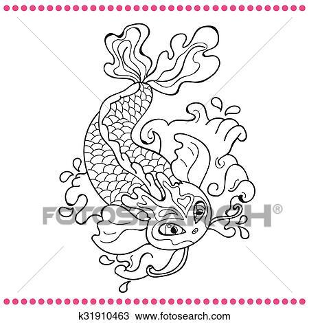 Dessin Carpe Japonaise clipart - japonaise, carpe, -, dessin ligne, vecteur, image