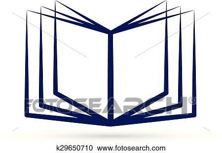 Ouvert Livre Bleu Logo Clipart