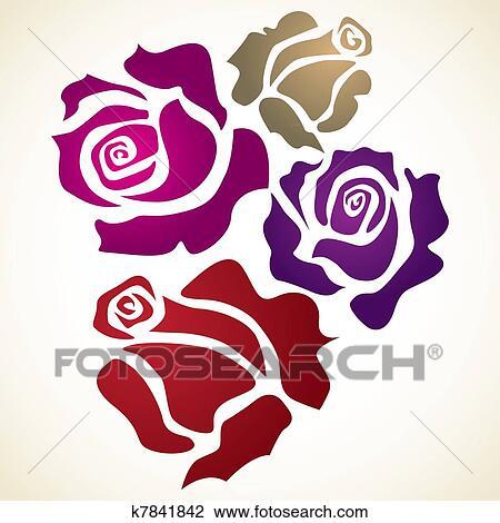 Quatre Couleur Fleur Rose Croquis Illustration Dessin
