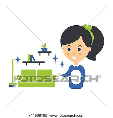 Reinigung, service, mädchen, und, sauber, wohnzimmer, putzen, firma,  infographic, abbildung Clipart