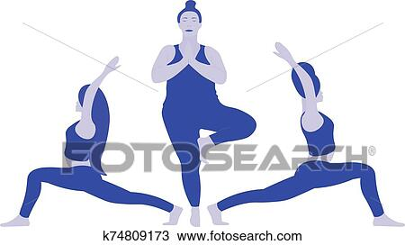 a three young ladies various weight in position yoga pose