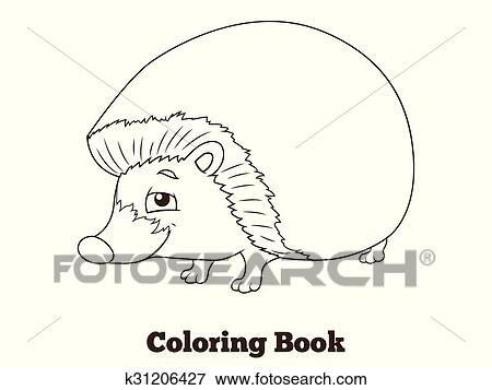 Ausmalbilder Wald Tier Igel Karikatur Clip Art