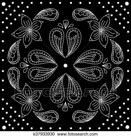 Clipart Of Black And White Abstract Bandana Print With Element Henna