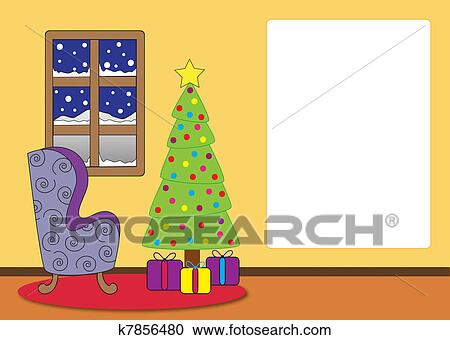 Stock Illustrations Of Christmas Living Room Cartoon K7856480