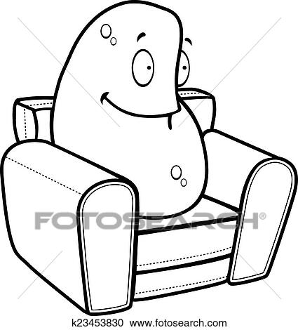 clipart of couch potato k23453830 search clip art illustration rh fotosearch com Potato Clip Art Couch Potato Cartoon
