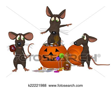 Divertente cartone animato topo festeggiare halloween archivio