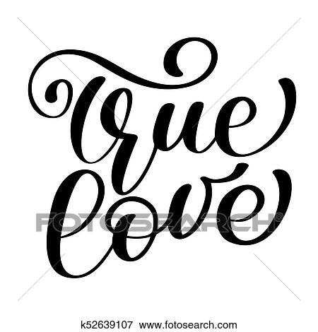 Clip Art Frase Amor Verdadero En Dia De Valentines Mano