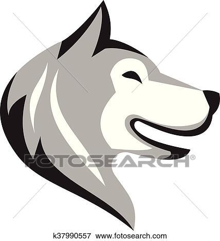Clipart husky chien t te retro k37990557 recherchez - Dessin tete de chien ...