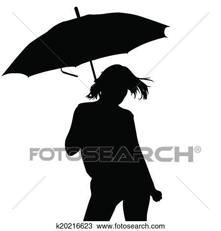 Mädchen Schirm Vektor Clipart K20216623 Fotosearch