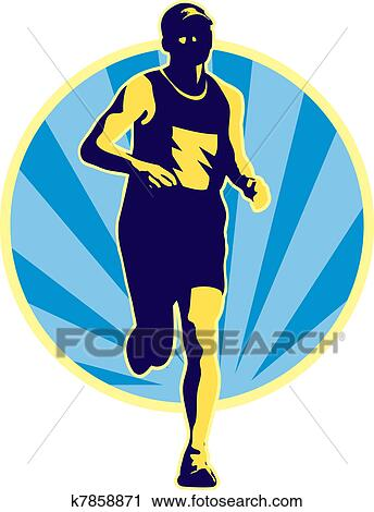 Clipart Of Marathon Runner Running Retro K7858871
