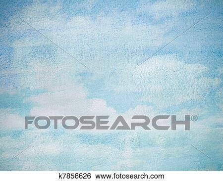 Mouillé Aquarelle Bleu Ciel Résumé Fond Banque De Photographies