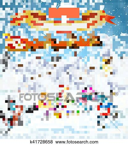 clip art winter scene with skating children fotosearch search clipart illustration posters