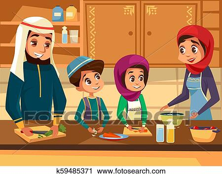 Arab Family Cooking Together At Kitchen Cartoon Flat