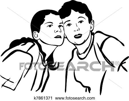 Boy And Girl Cheek To Cheek Look At The Front Clipart K7861371