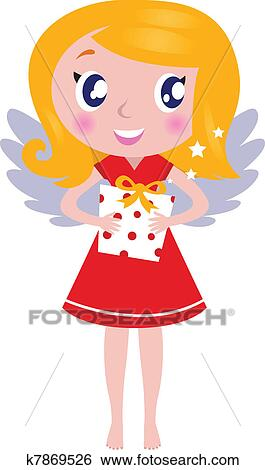 Christmas Cartoon Images.Christmas Cartoon Angel Girl With Gift Isolated On White Clip Art