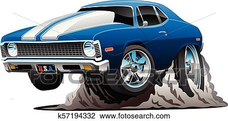 Clipart Of Classic American Muscle Car Cartoon Vector Illustration