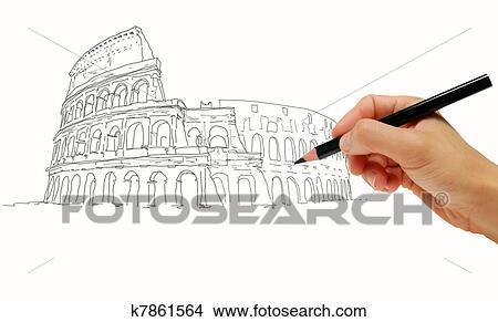 Dibujo Coliseo Roma Italia Colección De Ilustraciones K7861564