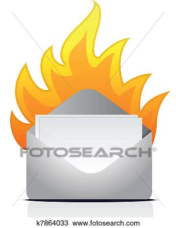 Clipart Of Envelope Letter On Fire K7864033 Search Clip Art