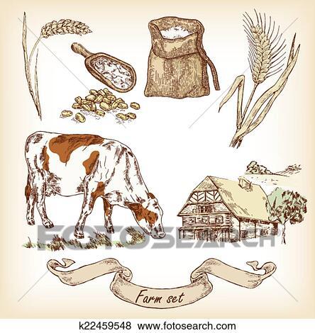Clip Art Of Farm Set Hand Drawn Illustration Cow House Sack
