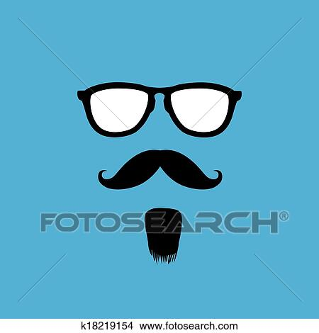 clipart of man with old style mustache beard sunglasses vector rh fotosearch com