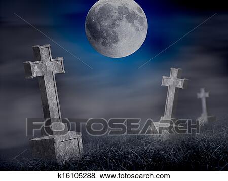 Halloween Kruis.Misterie Oud Graveyard Met Een Groep Van Kruis Tombstones Op Midnight Halloween Collage Stock Foto