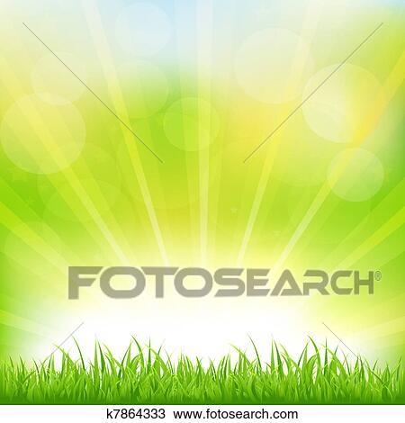 Sfondo Verde Con Erba Verde E Sunburst Clipart K7864333