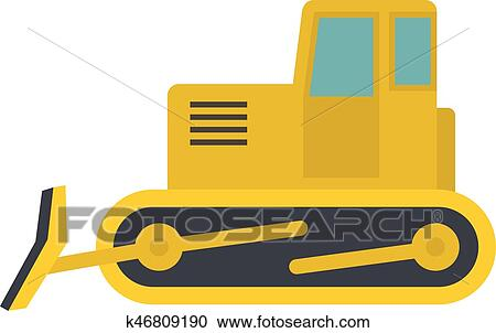 clipart of yellow bulldozer icon isolated k46809190 search clip rh fotosearch com bulldozer clipart outline bulldozer clipart outline