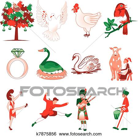 vector illustration card of the 12 days of christmas icons - When Is The 12 Days Of Christmas
