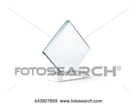 Blank glass trophy mockup stand on clear marble base, Stock Photo