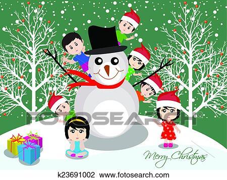Buon Natale Per Bambini.Buon Natale Con Felice Bambini Clipart K23691002 Fotosearch