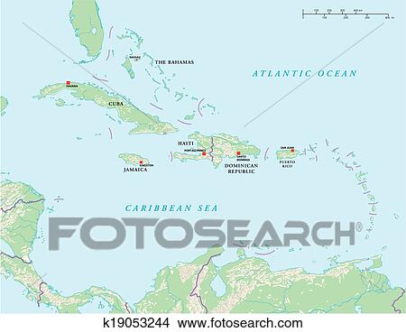 Clipart of Caribbean Islands Political Map k19053244 - Search Clip ...