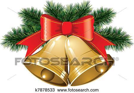 Christmas Bells.Christmas Bells With Christmas Tree Clipart