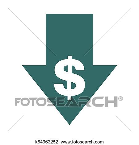 Cost reduction- decrease icon. Vector symbol image ...