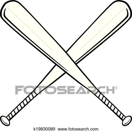 clip art of crossed baseball bats k19830089 search clipart rh fotosearch com crossed softball bats clipart crossed bats clipart