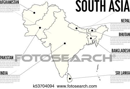 Infographic Map Of South Asia Modern Template With Text In Black