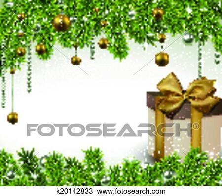 clipart weihnachten hintergrund mit tannenzweige und geschenk box k20142833 suche. Black Bedroom Furniture Sets. Home Design Ideas
