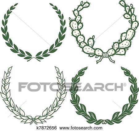 Clipart laurels couronnes k7872656 recherchez des - Clipart couronne ...
