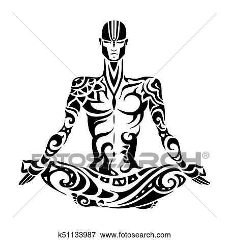Meditation Yoga Man Silhouette Clip Art K51133987 Fotosearch