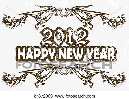 Clipart of New Year\'s Eve greeting card k7872063 - Search Clip Art ...