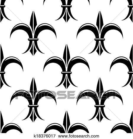 Clipart Noir Blanc Fleur Lys Seamless Modele K18376017