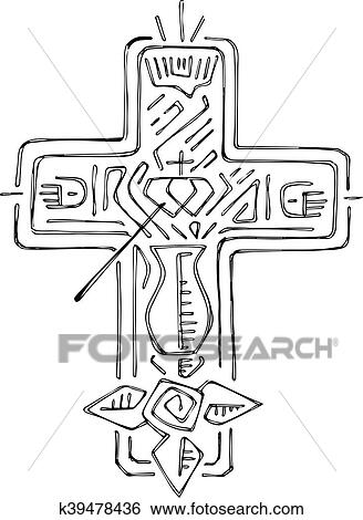 Clip Art Of Religious Cross With Symbols K39478436 Search Clipart