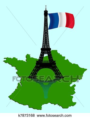Map Of France Eiffel Tower.The Eiffel Tower With A Map And Flag Of France Clip Art