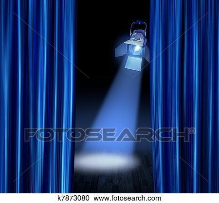 Stock Illustraties - toneel, schijnwerper, blauwe, gordijnen ...
