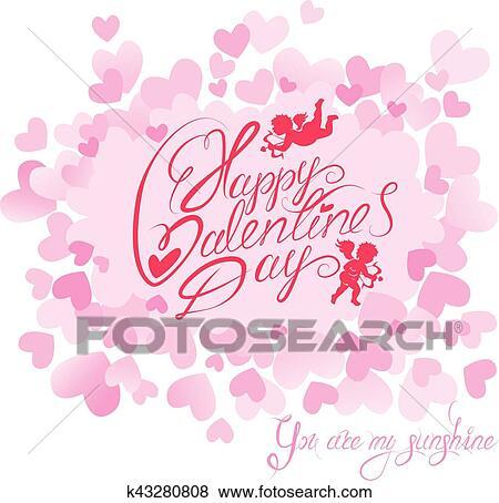 Vacances Carte à Mignon Anges Sur Cœurs Rose Arrière Plan Main écrite Calligraphic Texte Heureux Saint Valentin Vous Are Mon
