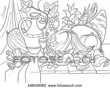 Clipart - vegetales, y, frutas, cosecha, estilo, vector ...