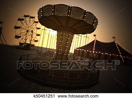 clipart of 3d rendering carnival carousel k50451251 search clip