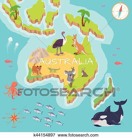 Carte Geographique Australie Gratuit Grand Format.Australie Isometrique Carte A Flore Et Fauna Clipart