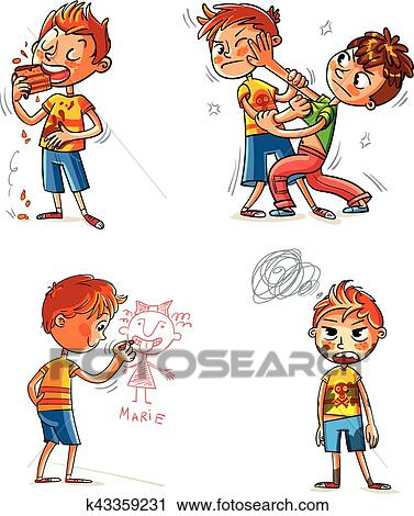 Clipart Of Bad Behavior Funny Cartoon Character K43359231 Search