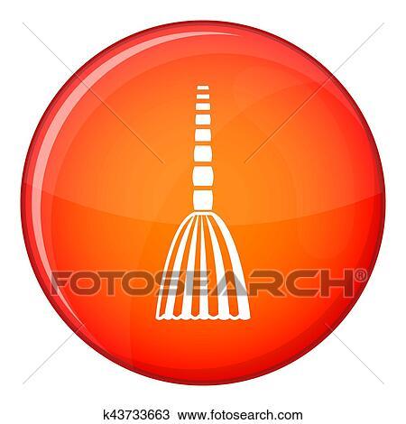 Zeichnung - besen, boden, symbol, flache, stil k43733663 - Suche ...