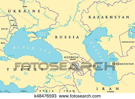 Kazakhstan Political Map.Clipart Of Black Sea And Caspian Sea Political Map K48476593